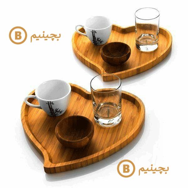 ظرف چوبی - اردو خوری مدل قلب تکی