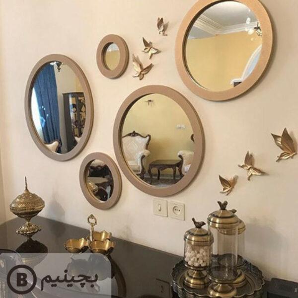آینه-گرد-پنج-تایی-طلایی